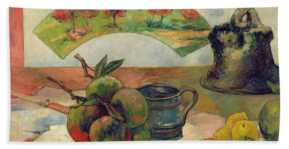 Still Life With A Fan Beach Towel featuring the painting Still Life With A Fan by Paul Gauguin