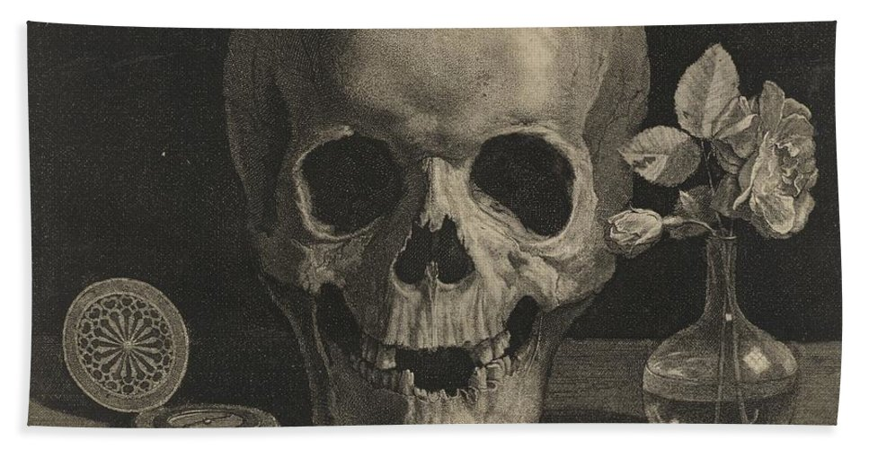 Beach Towel featuring the drawing Still Life With A Skull And A Vase Of Roses by Jean Morin