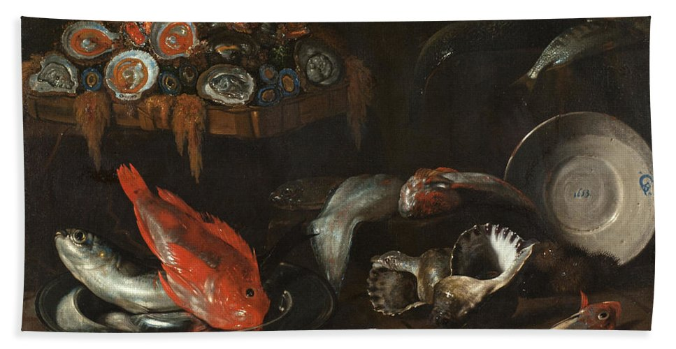 Still Life Beach Towel featuring the painting Still Life With Fish And Oysters by Giovanni Battista Recco