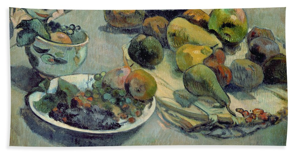 Still Life With Fruit Beach Towel featuring the painting Still Life With Fruit by Paul Gauguin