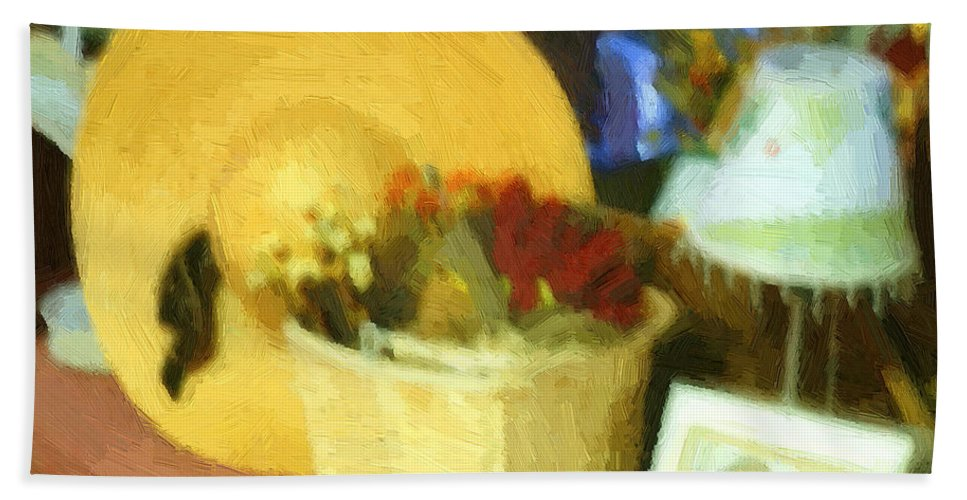 Basket Beach Towel featuring the digital art Still Life With Straw Hat by RC DeWinter