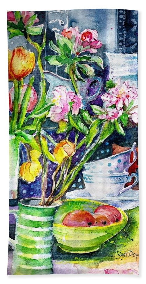Still Life Beach Towel featuring the painting Still Life With Tulips And Apple Blossoms by Trudi Doyle