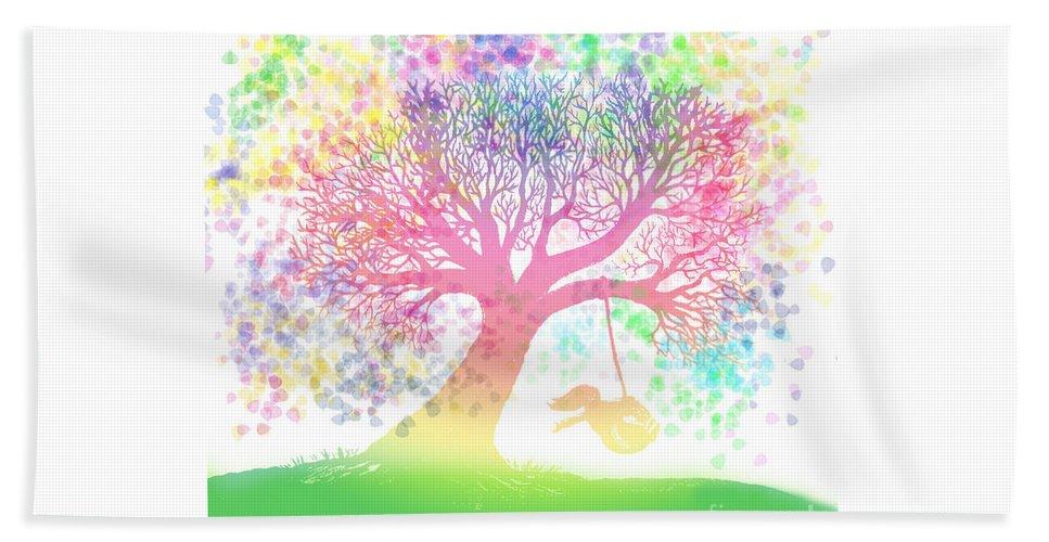 Rainbow Tree Dreams Beach Towel featuring the painting Still More Rainbow Tree Dreams 2 by Nick Gustafson