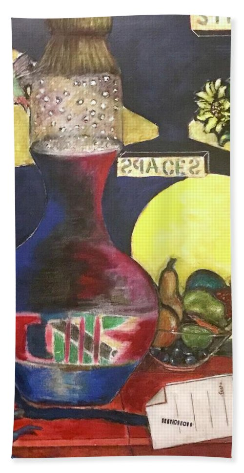 Beach Towel featuring the mixed media Stillife by Ismael Alicea-Santiago