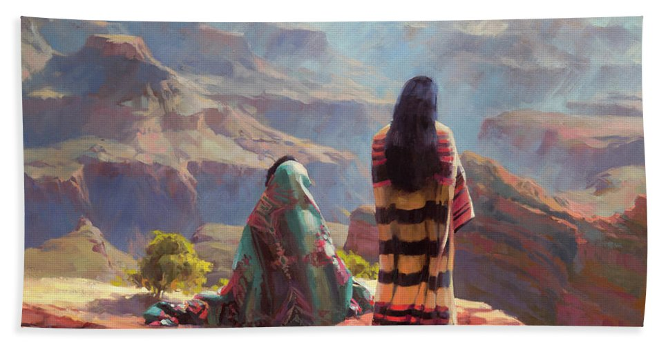 Southwest Beach Towel featuring the painting Stillness by Steve Henderson