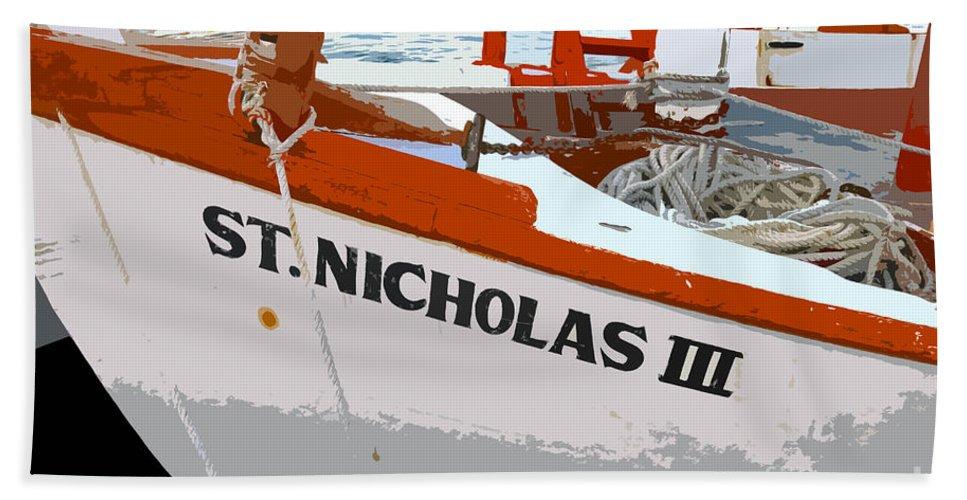 Sponge Boat Beach Towel featuring the painting St.nicholas Three by David Lee Thompson