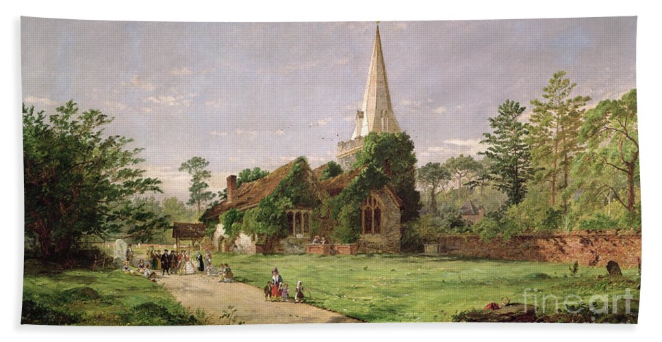 Stoke Beach Towel featuring the painting Stoke Poges Church by Jasper Francis Cropsey
