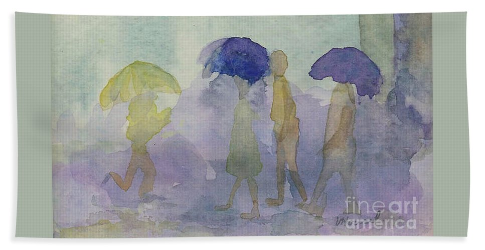 Watercolor Beach Towel featuring the painting Stomping In The Rain by Vicki Housel