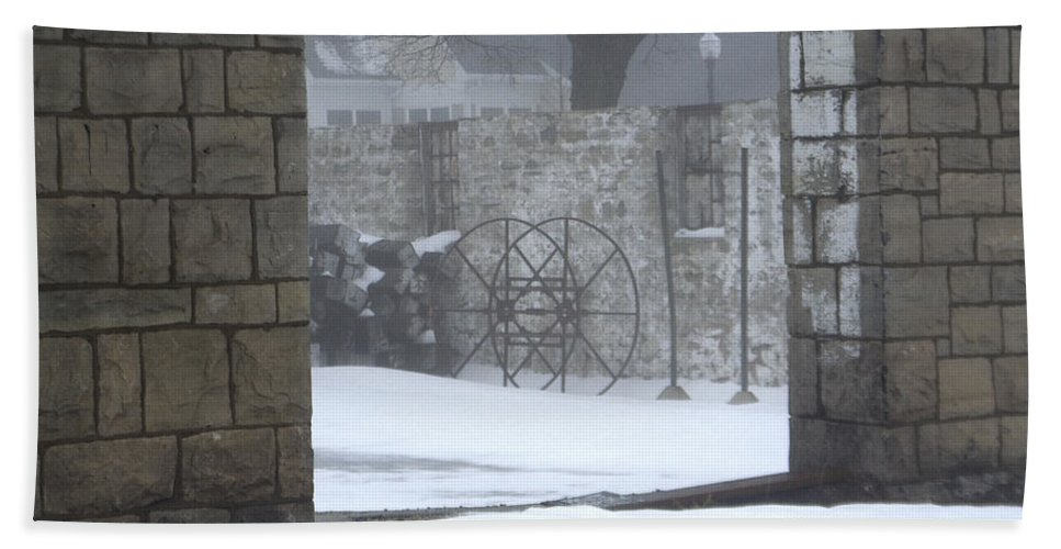 Winter Beach Towel featuring the photograph Stone Cellar by Tim Nyberg