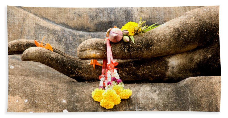 Buddha Beach Towel featuring the photograph Stone Hand Of Buddha by Adrian Evans