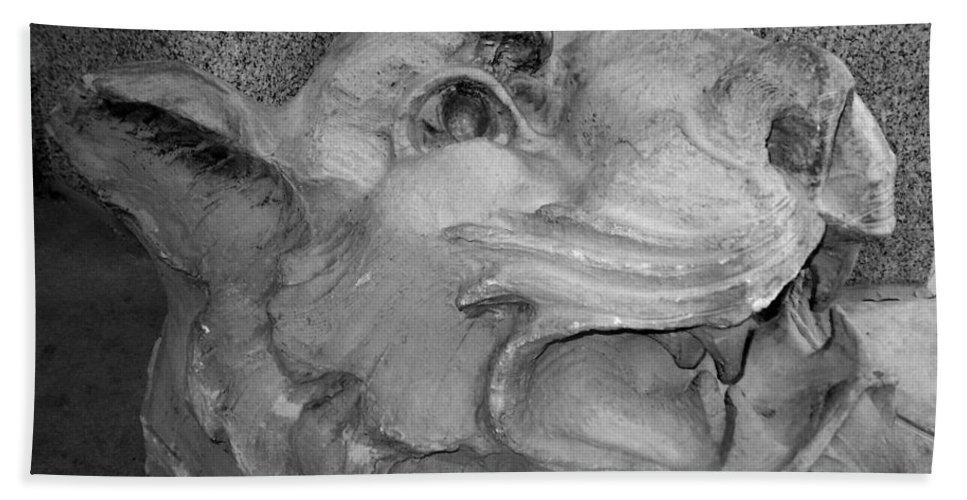 Sculpture Beach Towel featuring the photograph Stone Lion by Anita Burgermeister