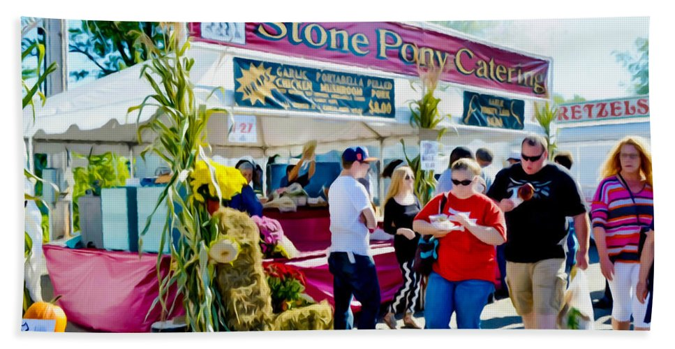 Stone Pony Catering Beach Towel featuring the painting Stone Pony Catering by Jeelan Clark