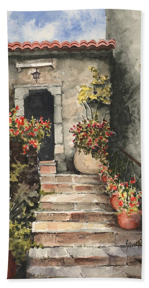 Steps Beach Towel featuring the painting Stone Steps by Sam Sidders