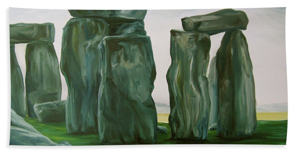 Stonehenge Beach Towel featuring the painting Stonehenge In Spring 2 by Jennifer Christenson