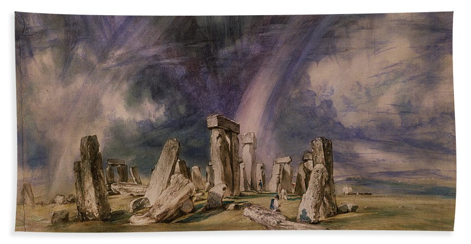 Stonehenge Beach Towel featuring the painting Stonehenge by John Constable