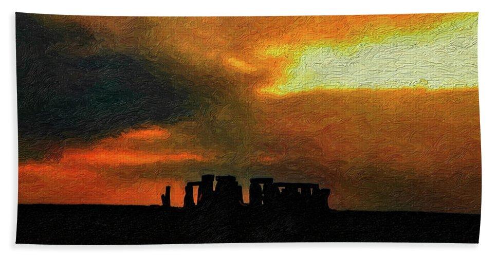 Stonehenge Beach Towel featuring the photograph Stonehenge by Steve Harrington