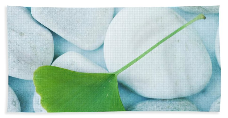 Priska Wettstein Beach Towel featuring the photograph Stones And A Gingko Leaf by Priska Wettstein
