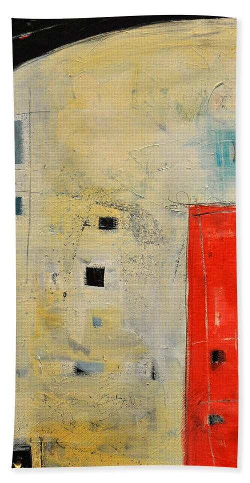 Abstract Beach Towel featuring the painting Storage Shed by Tim Nyberg