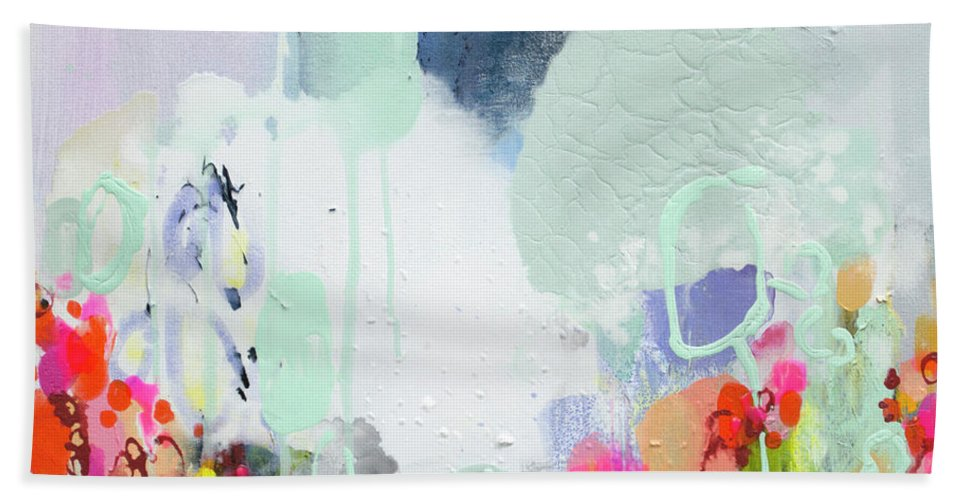 Abstract Beach Towel featuring the painting Stories by Claire Desjardins