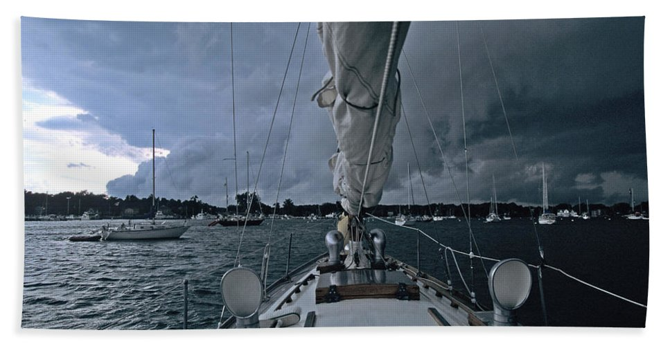 Storm Beach Towel featuring the photograph Storm At Put-in-bay by John Harmon