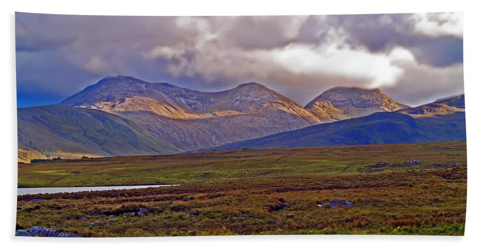 Fine Art Photography Beach Towel featuring the photograph Storm Clouds Ahead In Connemara by Patricia Griffin Brett