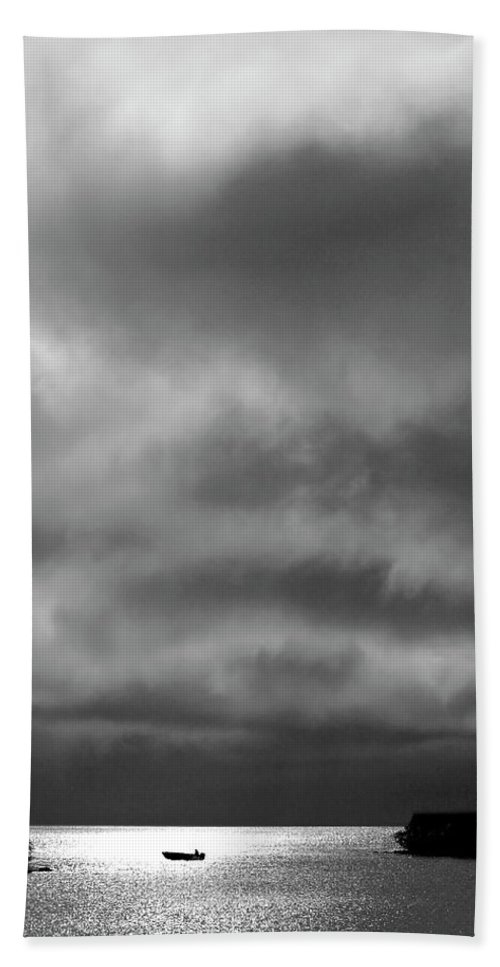 Beach Towel featuring the digital art Storm Clouds Approaching Boat On Northern Saskatchewan Lake by Mark Duffy