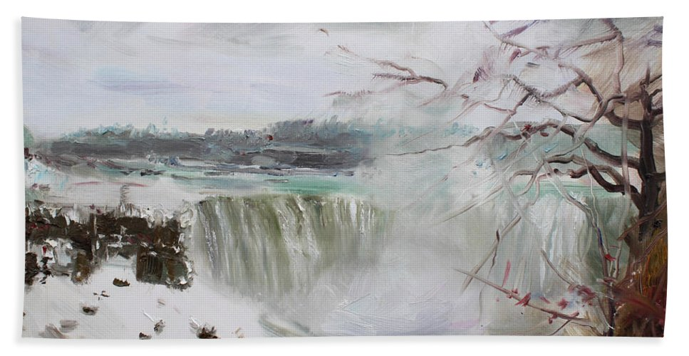 Landscape Beach Towel featuring the painting Storm In Niagara Falls by Ylli Haruni