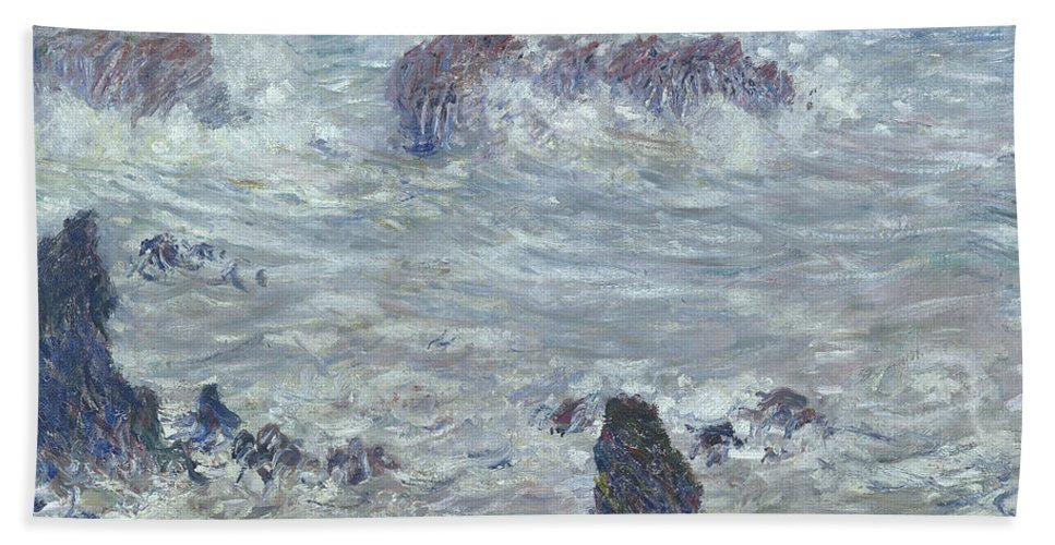 Storm Beach Towel featuring the painting Storm Off The Coast Of Belle Ile by Claude Monet