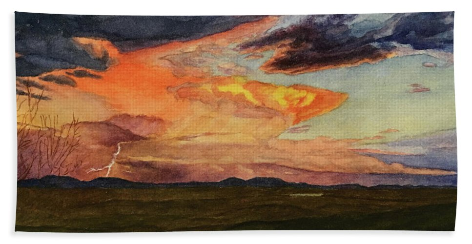 Skyscape Beach Towel featuring the painting Storm Over Davis Mountains by C Wilton Simmons Jr