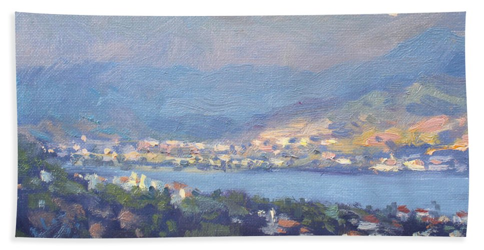Storm Beach Towel featuring the painting Storm Over Dilesi And Evia Island by Ylli Haruni