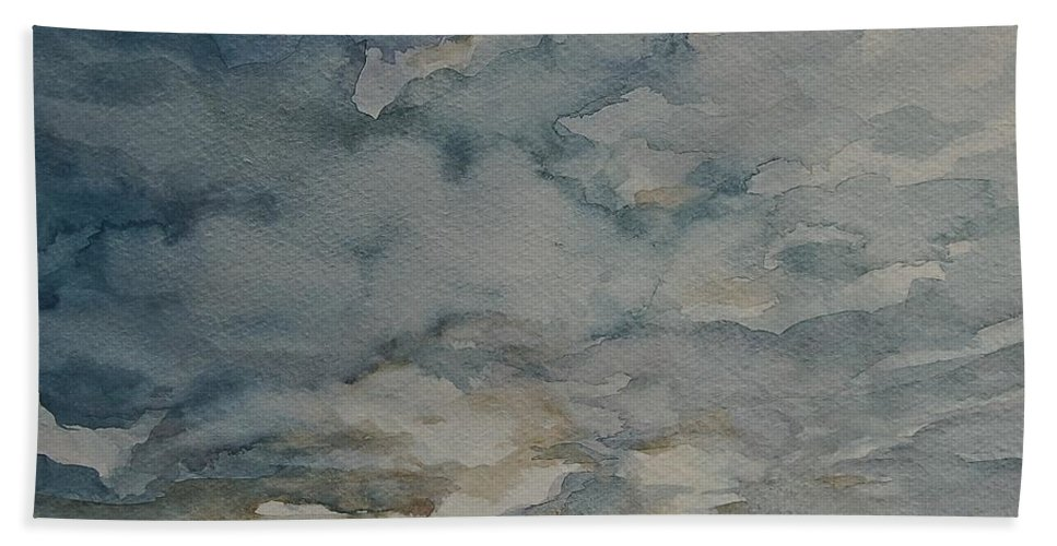 Living Room Beach Towel featuring the painting Storm Warning I by Johnnie Stanfield