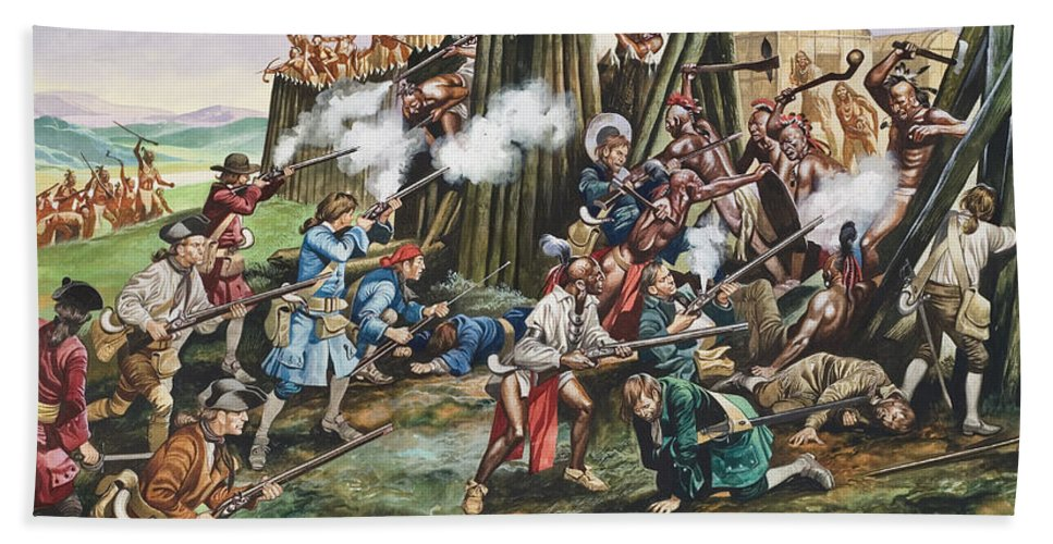 American Indian; Native; Soldier; Gun; Fortress; Axe; Tribe; Troop; Musket; Smoke; Fence; Fighting; Attack; Casualty; North Carolina; Battle; Siege; Revolt; Children's Illustration; Cherokee; Fort Beach Towel featuring the painting Storming Of The Fortress Of Neoheroka by Ron Embleton