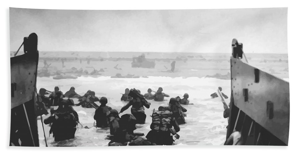 D Day Beach Towel featuring the painting Storming The Beach On D-day by War Is Hell Store