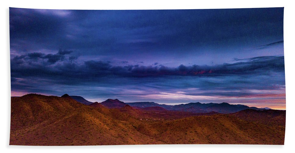 Drone Photography Beach Towel featuring the photograph Stormline Above Mountains by David Stevens