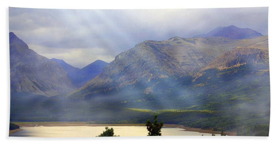 Glacier National Park Beach Towel featuring the photograph Storms A Coming-lower Two Medicine Lake by Marty Koch