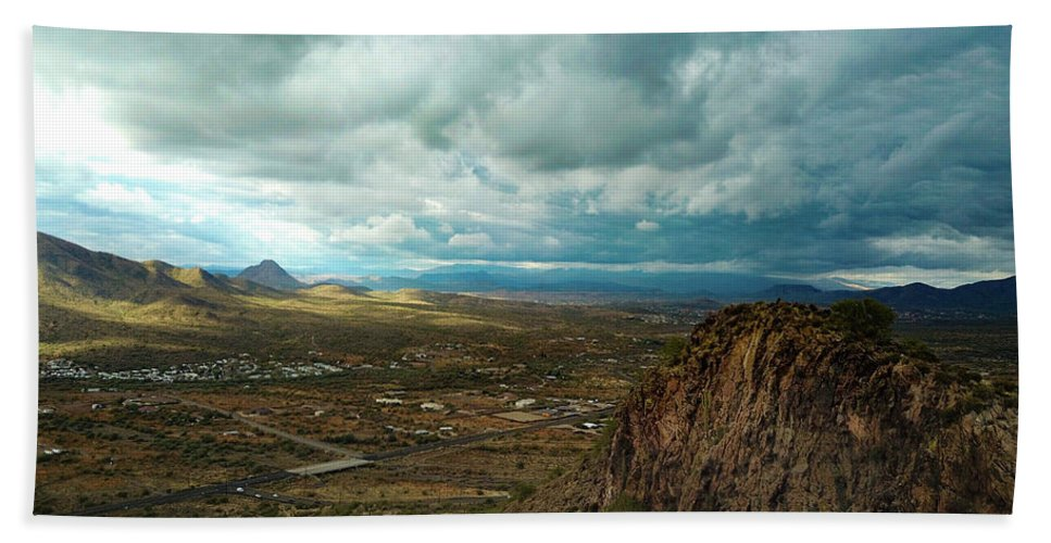 Drone Photography Beach Towel featuring the photograph Storms And Cliffs by David Stevens
