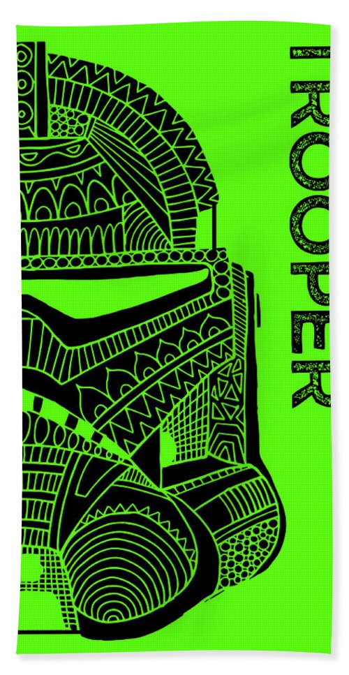 Stormtrooper Beach Towel featuring the mixed media Stormtrooper Helmet - Green - Star Wars Art by Studio Grafiikka