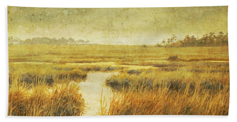 Guy Crittenden Art Beach Towel featuring the painting Stormy Marsh by Guy Crittenden