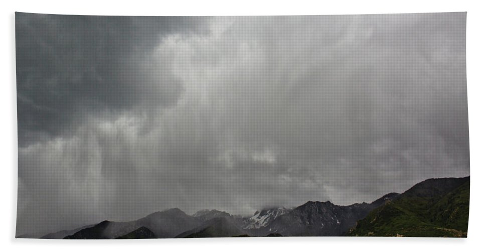 Mountain Beach Towel featuring the photograph Stormy Mountain by Preston Maurer