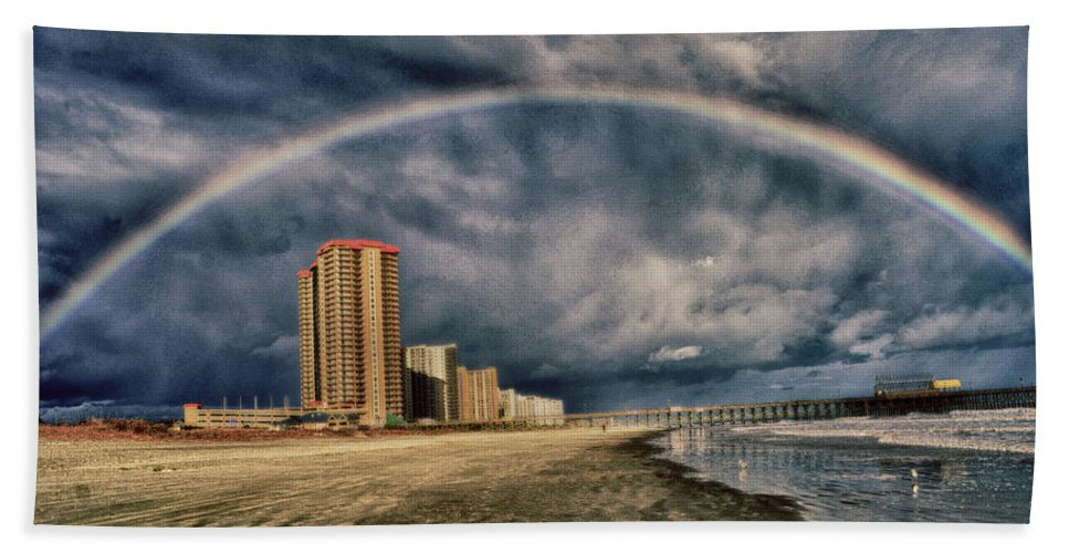 Rainbow Beach Sheet featuring the photograph Stormy Rainbow by Kelly Reber