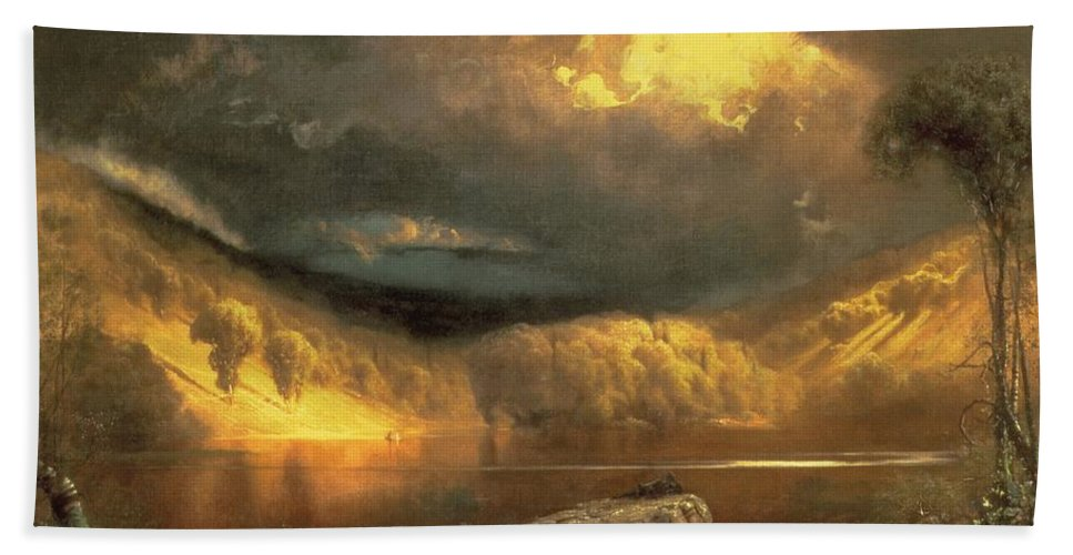 American Landscape; Clouds; Evening; Sunlight; Sunset; California Beach Towel featuring the painting Stormy Skies Above Echo Lake White Mountains by Fairman California