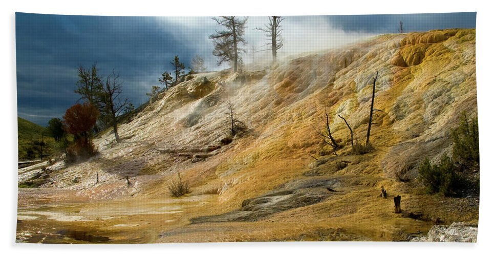 Yellowstone Beach Towel featuring the photograph Stormy Skies At Mammoth by Steve Stuller