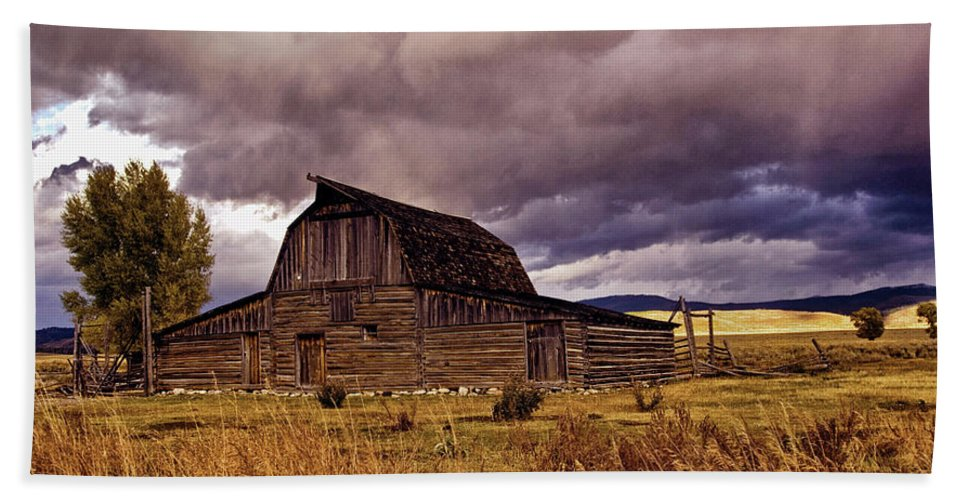 Barn Beach Towel featuring the photograph Stormy Sunset At Moulton Barn by Brian Kerls