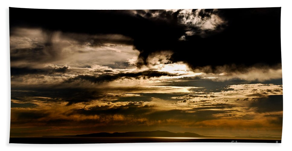 Sunset Beach Towel featuring the photograph Stormy Sunset by Venetta Archer