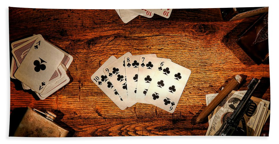 Western Beach Towel featuring the photograph Straight Flush by Olivier Le Queinec