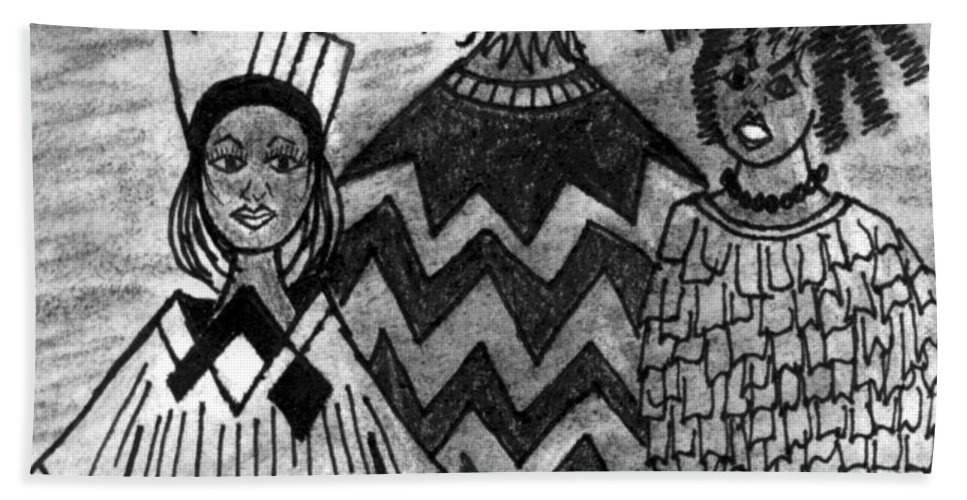 Women Beach Towel featuring the drawing Straight Up by Angela L Walker