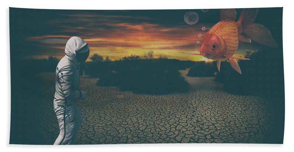 Astronaut Beach Towel featuring the digital art Strange Encounter by Katherine Smit