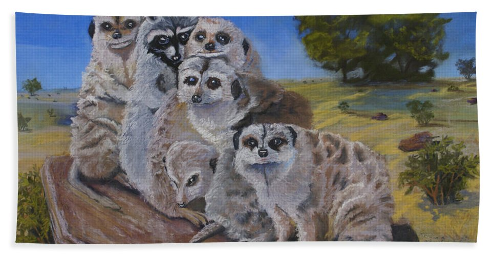 Meer Cat Beach Towel featuring the painting Stranger In A Strange Land by Heather Coen