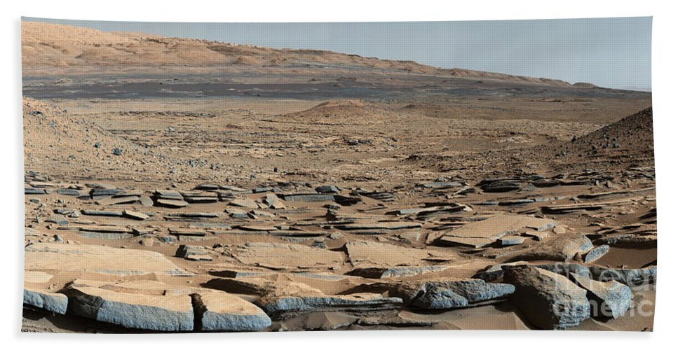 Science Beach Towel featuring the photograph Stratified Rock On Mars by Science Source