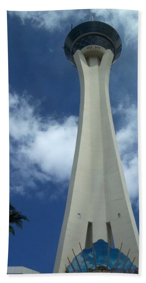 Stratosphere Tower Beach Towel featuring the photograph Stratosphere Tower by Anita Burgermeister